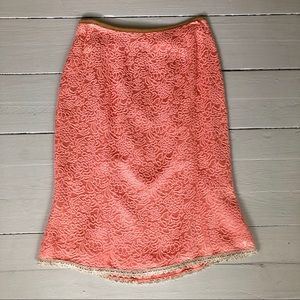 Rare Tracy Feith Pink Brocade Pencil Skirt